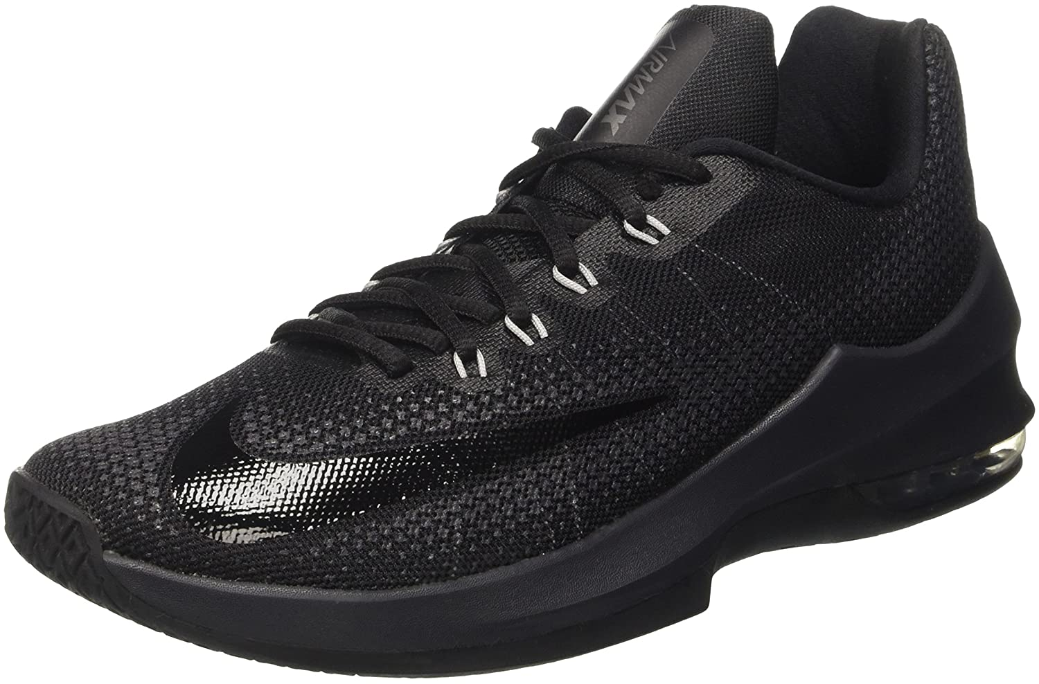Nike Herren Air Max Infuriate Low Basketballschuhe  44.5 EU|Schwarz (Black/Black/Anthracite/Dark Grey)