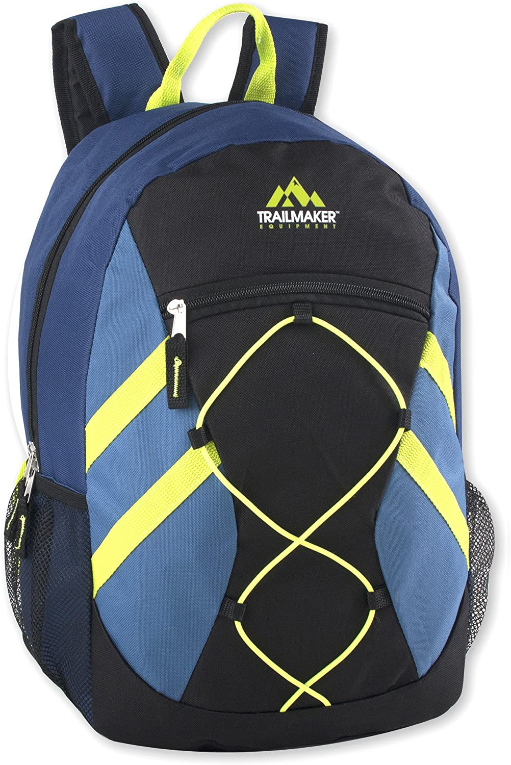 Blue Trailmaker Full Size 17 Inch Bungee Backpack With Mesh Side Pockets