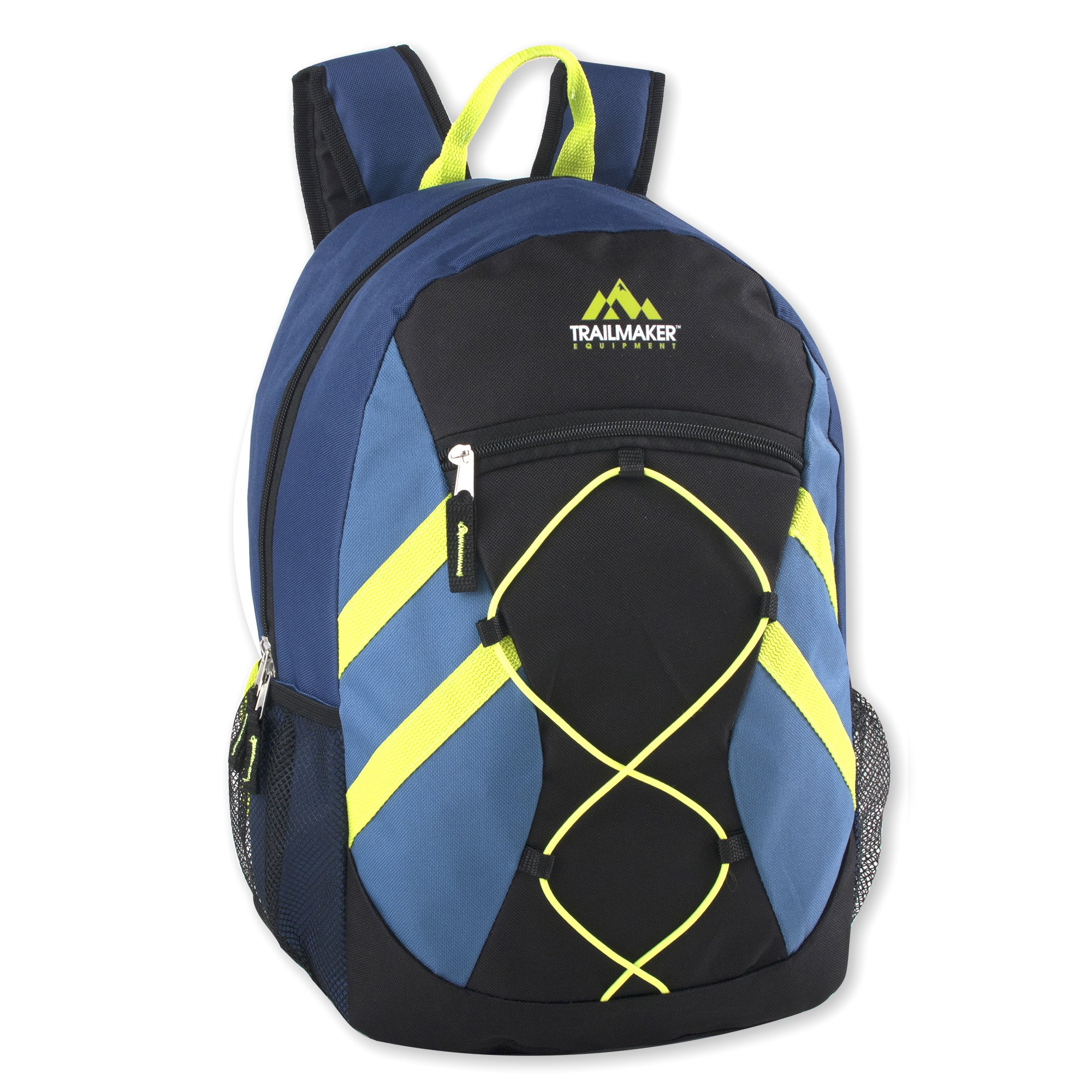 Trailmaker Full Size 17 Inch Bungee Backpack With Mesh Side Pockets (Blue)