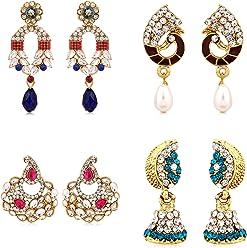 Sukkhi Drop Earrings for Women (Golden) (285CB1100)