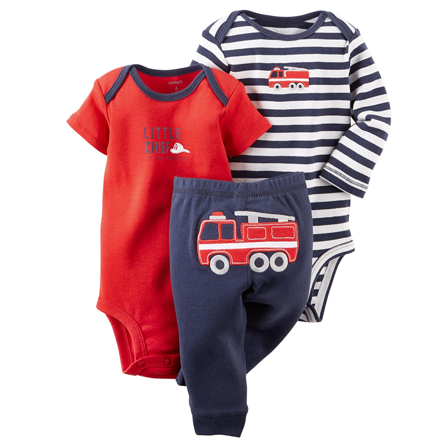 Carters Baby Boys 3-Piece Bodysuit /& Pant Set Navy//Red Firetruck Preemie