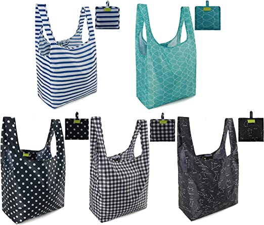 20 Pack Grocery Shopping Bags Foldable and Reusable Assorted Colors for Kids