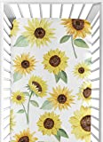 Sweet Jojo Designs Yellow, Green and White Sunflower Boho Floral Girl Baby or Toddler Nursery Fitted Crib Sheet…