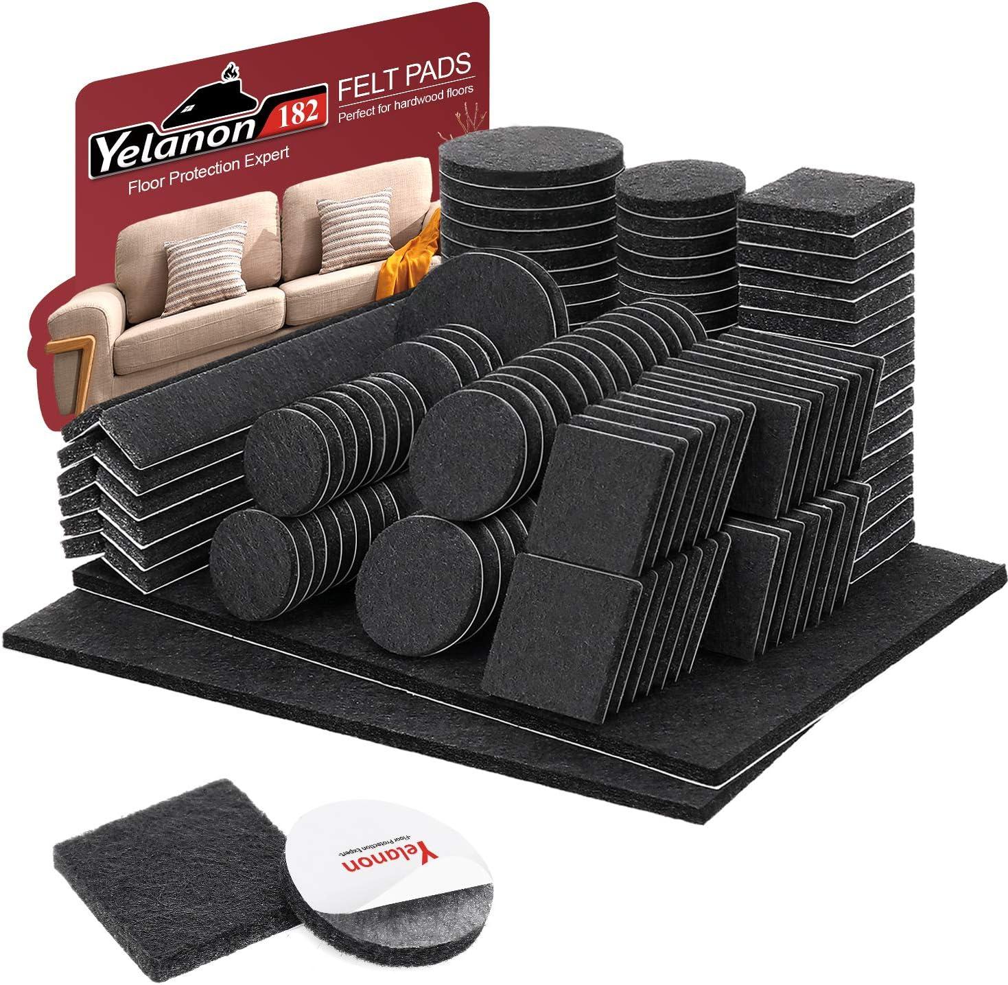 Felt Furniture Pads -182 Pcs Furniture Pads Self Adhesive, Cuttable Felt Chair Pads, Anti Scratch Floor Protectors for Furniture Feet Chair Legs, Furniture Felt Pads for Hardwoods Floors, Black