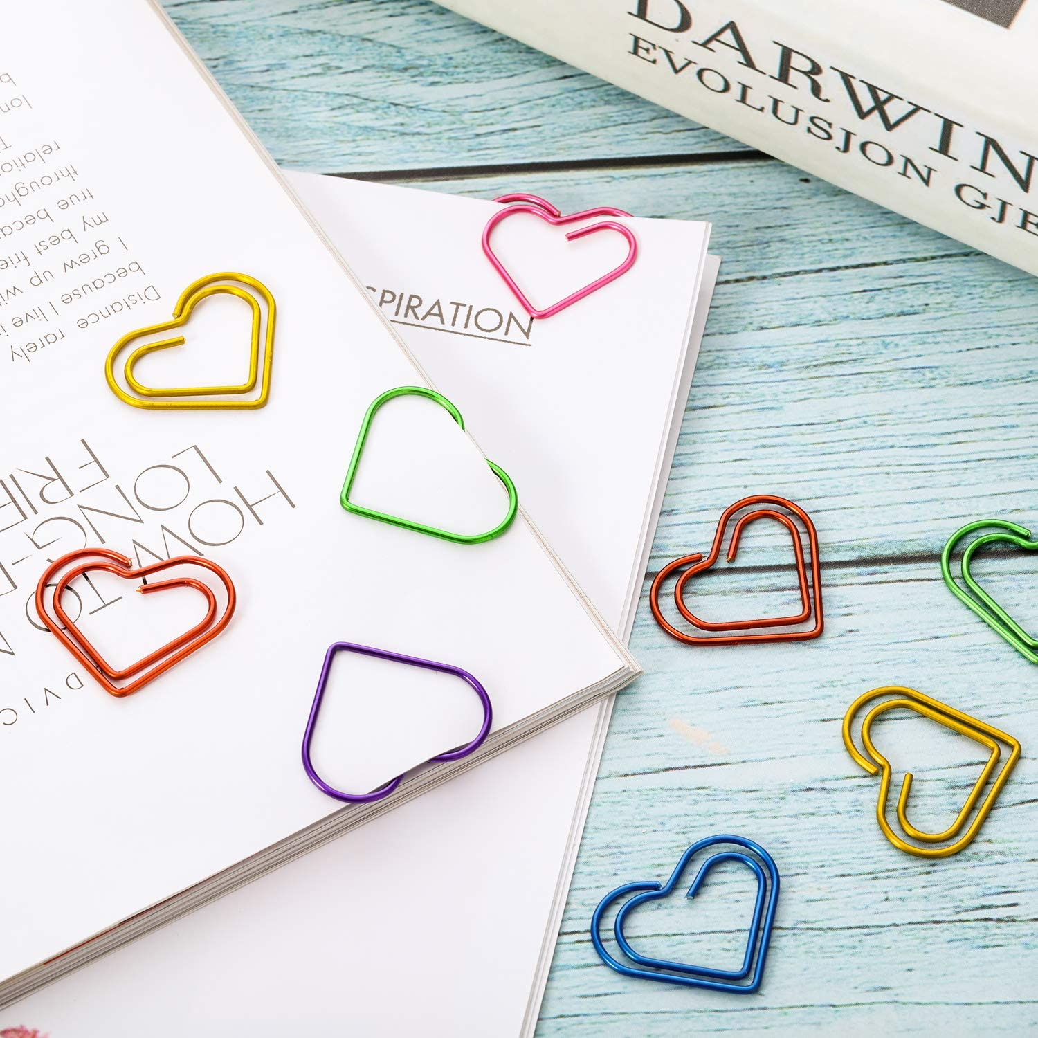 Size B Frienda 105 Pieces Multicolor Paperclips Metal Paper Clips for School Office Supplies