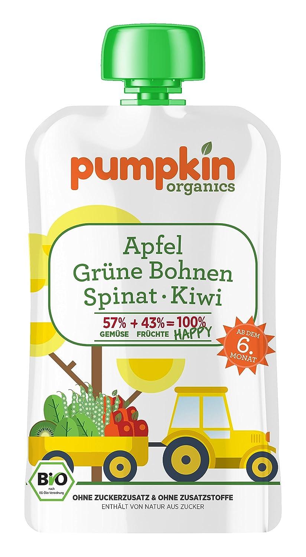 Pumpkin Organics 100g Bio Baby-Brei im Quetschbeutel aus grünen Bohnen - Spinat mit Apfel und Kiwi Babynahrung Gem