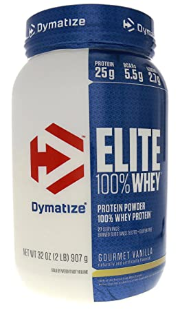 Dymatize Nutrition Elite Whey Protein Powder, Gourmet Vanilla, 2 Pounds