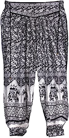 Gypsy Paisley Festival Hippy Light Culottes Indian Travel Trousers 10-14 Blue