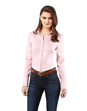 Vincenzo Boretti Damen Bluse besonders tailliert mit Stretch Langarm  Hemdbluse elegant festlich Kent-Kragen auch für Business und unter  Pullover  Amazon.de  ... 0207606e2a