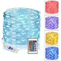 Tesyker Lights for Bedroom, Fairy Lights with Remote Plug in Led String Lights, 16 Color Changing Lights USB Fairy…