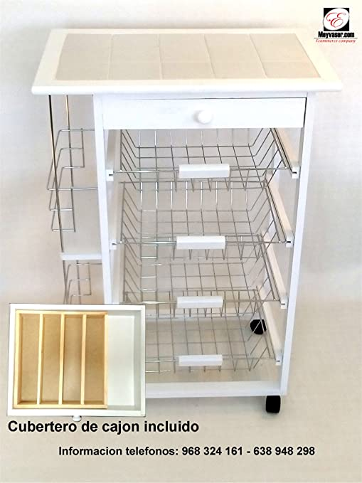 Mueble Gestion Verdulero Frutero Oporto 5 Blanco (Cubertero de Cajon Incluido)