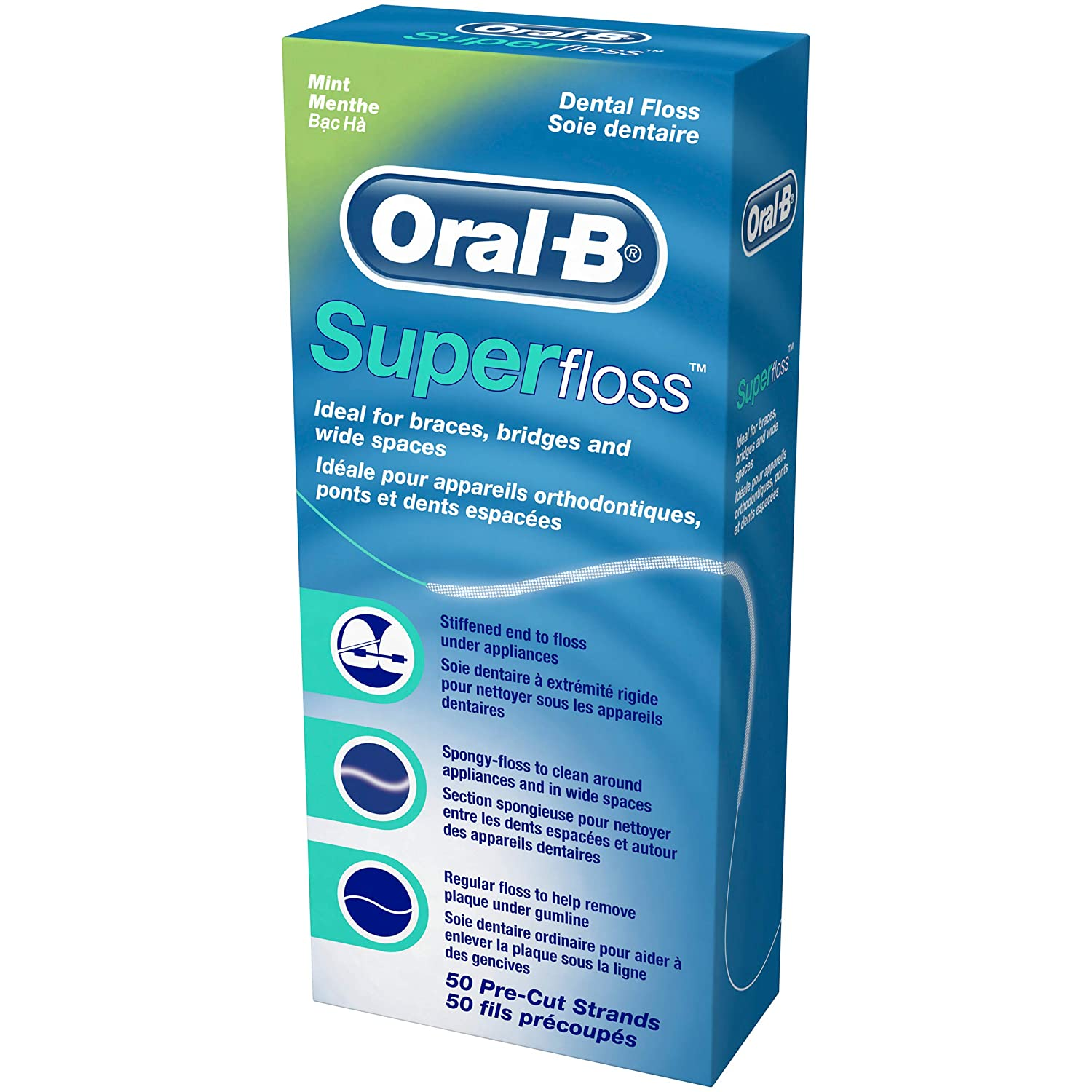 Oral-B Super Floss - 50 piezas precortadas de seda dental (12 unidades)