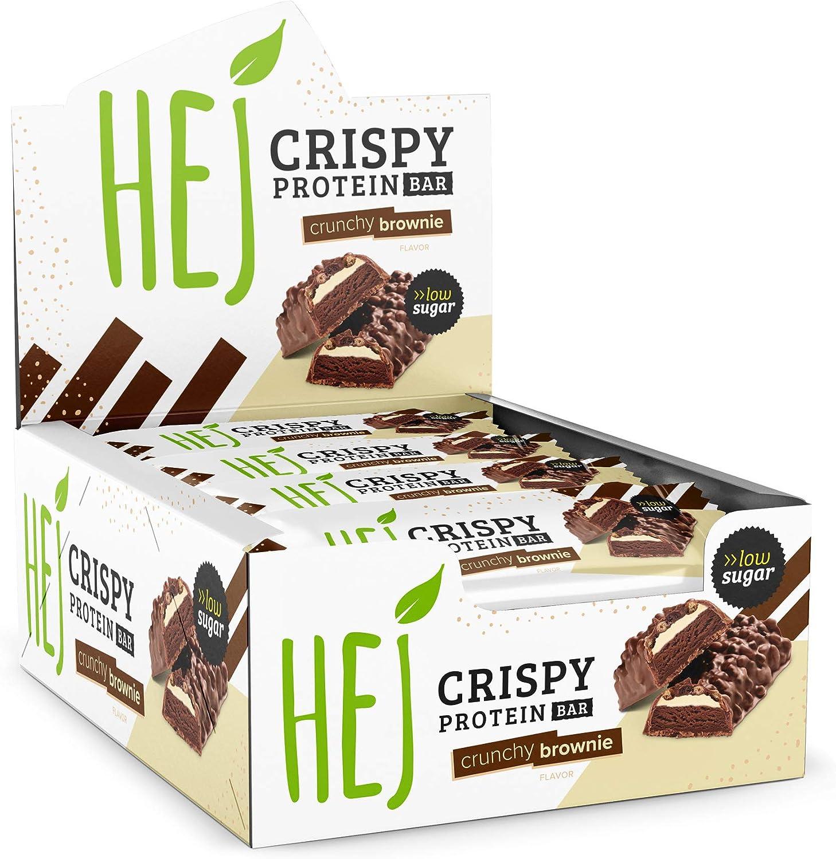 HEJ Crispy Protein Bar Crunchy Brownie - Barre protéinée sans sucre ajouté - Barre protéinée à faible teneur en glucides - Fitness Bar - Sans huile de ...