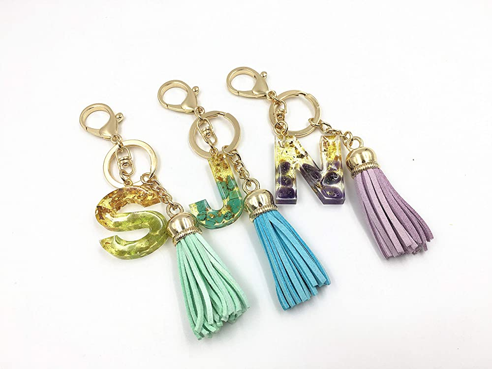 Personalized Gift Princess Letter Resin Keychains Custom Made Initial Keychain