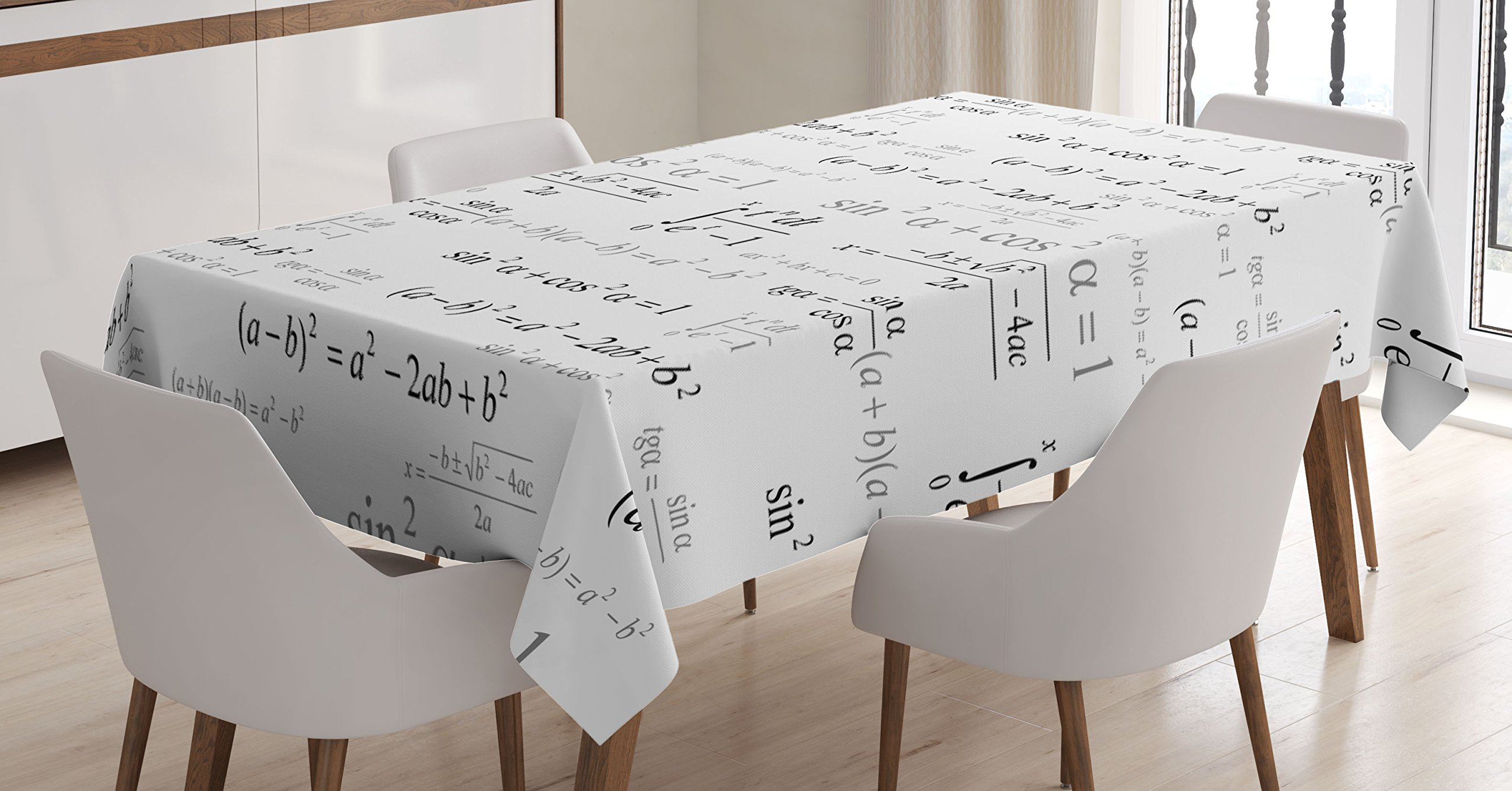 Ambesonne Kids Decor Tablecloth, School for Math and Geometry with Science Formules Chalk Board Style Image, Dining Room Kitchen Rectangular Table Cover, 60W X 90L inches, Black and White