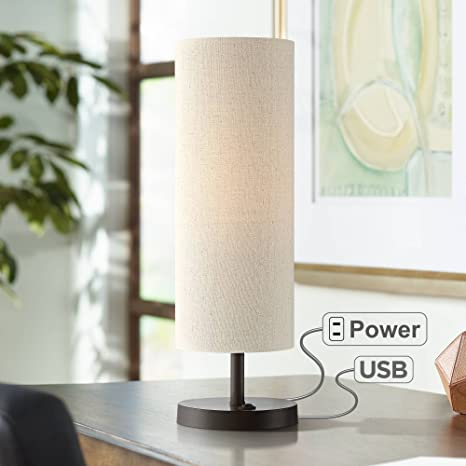 Bon Heyburn Bronze Accent Table Lamp With Outlet And USB Port
