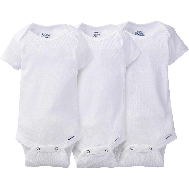 Gerber Unisex Baby 3-Pack Short Sleeve Onesies 22530318A WHT NBI