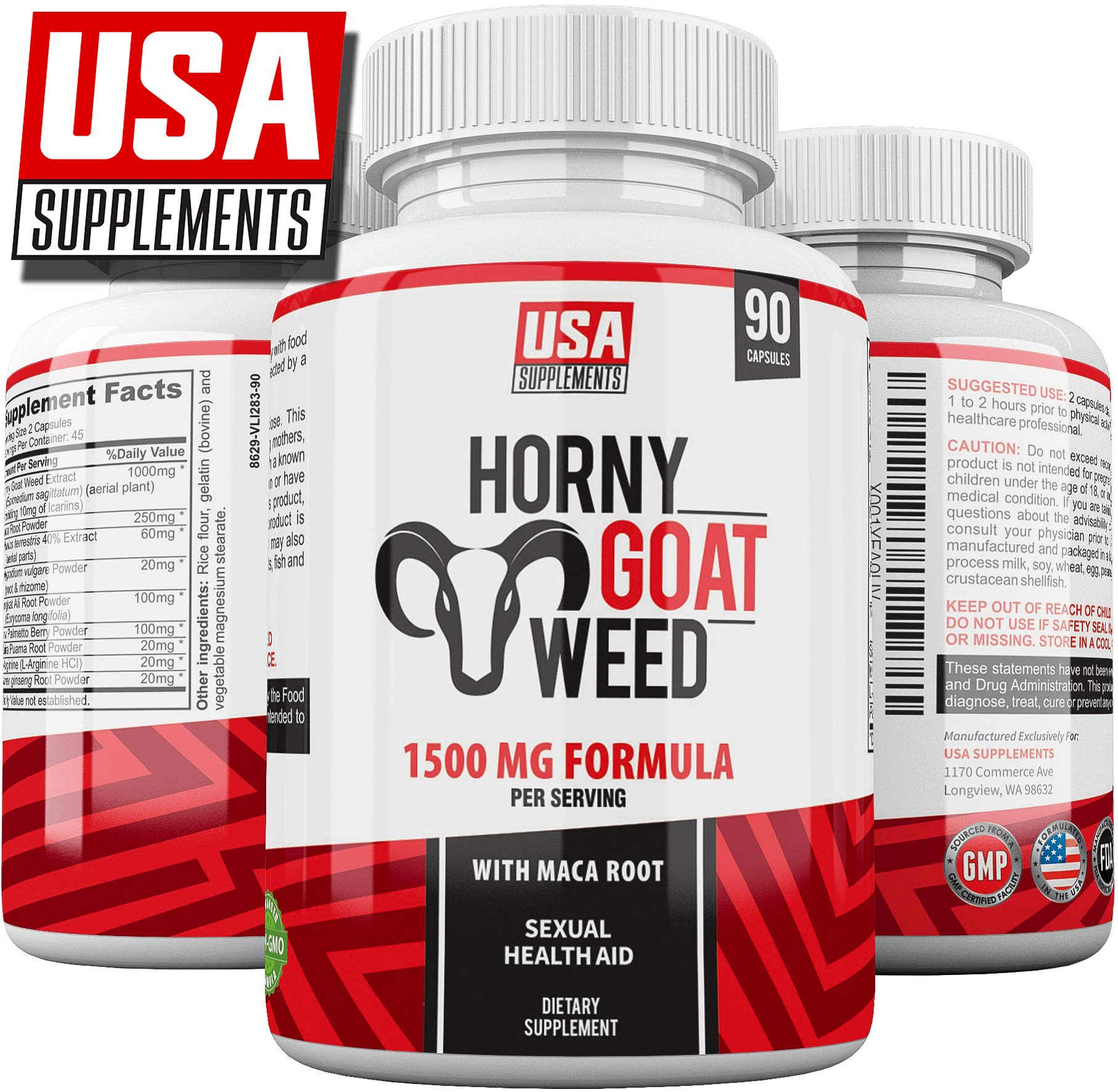 Horny Goat Weed for Men & Women | 1500mg Epimedium Pills, Maca Arginine & Ginseng | Naturally Boost Sexual Health, Libido, Stamina, Endurance, Testosterone & Energy | HGW Enhancing Premium Capsules