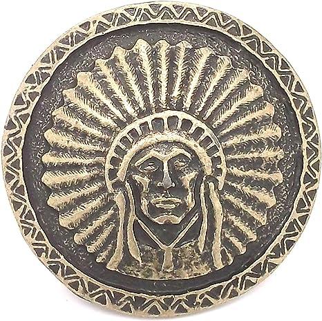 "Southwest Chief Head Antique Brass Concho Screwback 1-3//4/"" 7582-09"