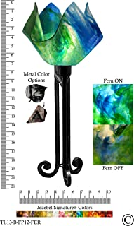 product image for Jezebel Signature Torch Light. Hardware: Black. Glass: Fern, Flame Style