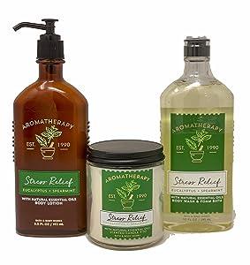 Bath & Body Works Aromatherapy Stress Relief Diffuser, Prime Spa Bundle - Eucalyptus + Spearmint Body Lotion, 6.5 Fl Oz + Body Wash & Foam Bath, 10 Fl Oz, Wick Candle, All With Essential Oils