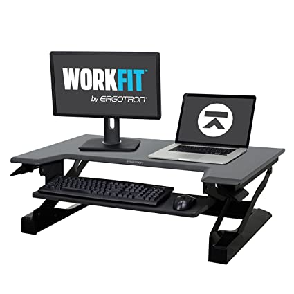 Ergotron WorkFit T, Sit Stand Desk Converter | Black, 35u0026quot; Wide