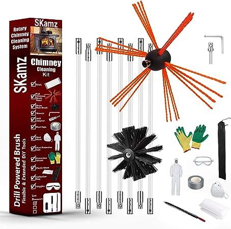 SKAMZ Kit de ramonage 3 en 1 brosse de nettoyage pour chemin/ée Syst/ème de nettoyage anti-peluches Kit de nettoyage pour s/èche-linge tiges flexibles balayage de chemin/ée 3 en 1
