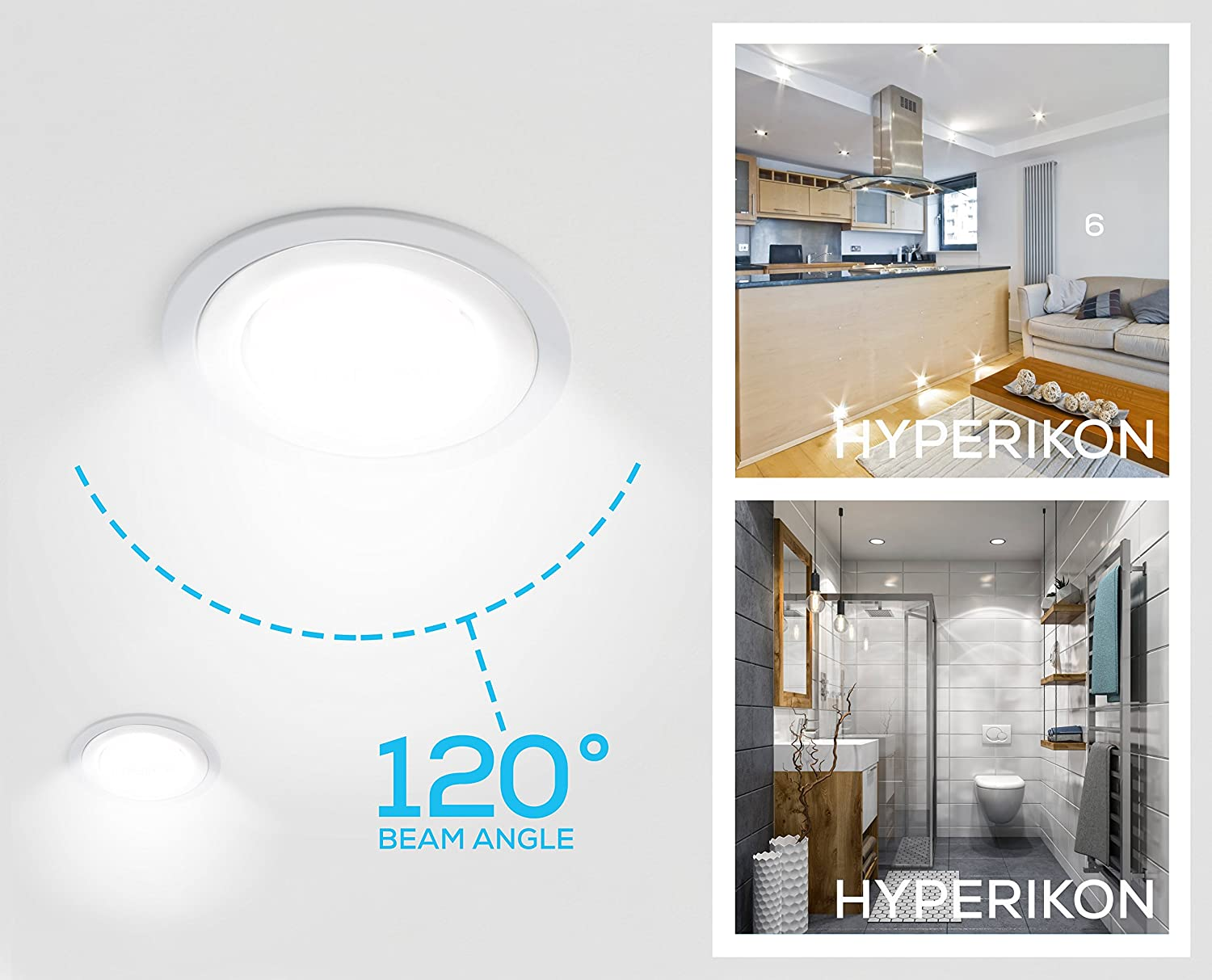 Hyperikon 6 Led Downlight 14w 75w Replacement 970 Lumen 4000k Wiring Diagram Daylight Glow Cri 90 Retrofit Recessed Ceiling Fixture With E26 Base Dimmable
