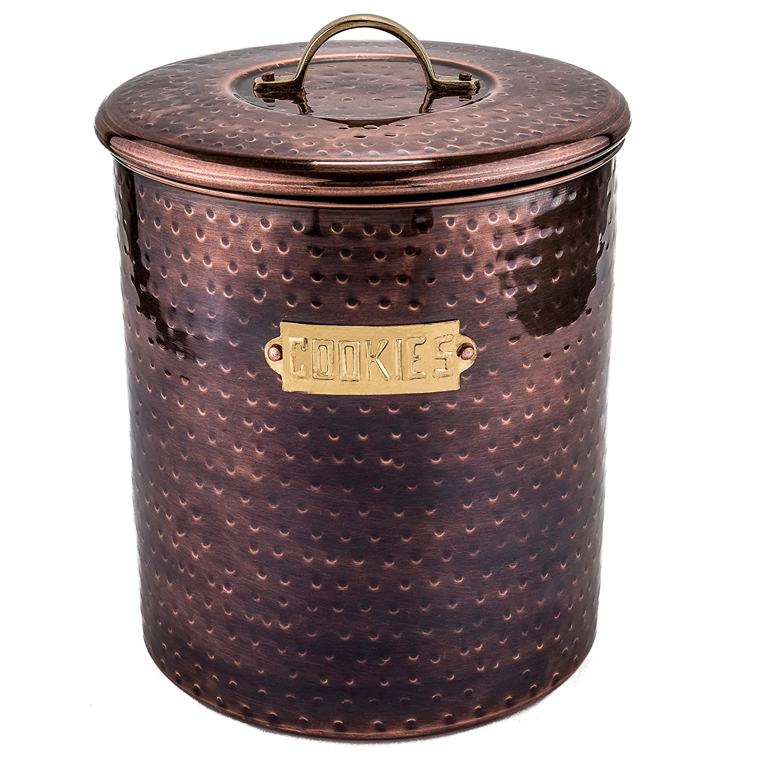 Old Dutch 1846 Hammered Antique Copper Pasta Canister with Fresh Seal Cover, 12 12