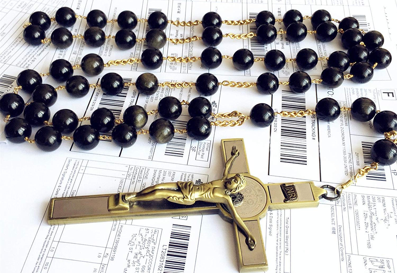 elegantmedical Handmade Large 20MM Black Gold Obsidian Bead Wall Rosary Cross St.Benedict Crucifix Catholic Gift Box by elegantmedical (Image #7)