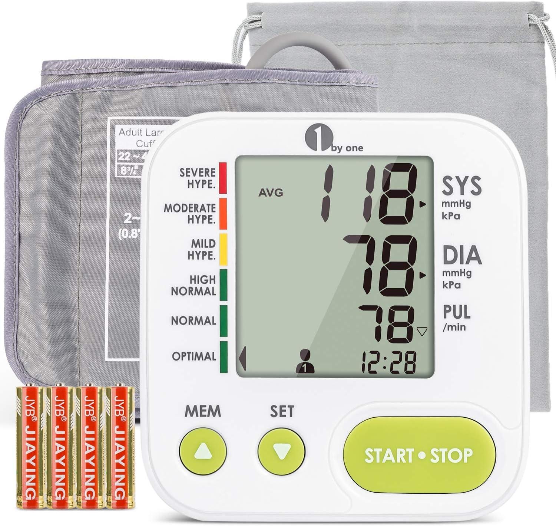 1byone Tensiometro de Brazo App Electrico Digitales, sin Bluetooth, sin función WI-FI, registre manualmente sus mediciones