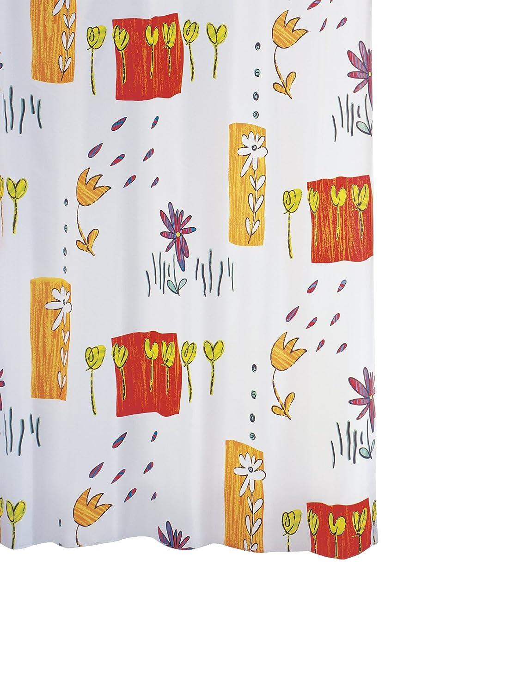 Ridder 479600-350 - Tenda da doccia, in tessuto, 180 x 200 cm, anelli inclusi, decorazione a fiori