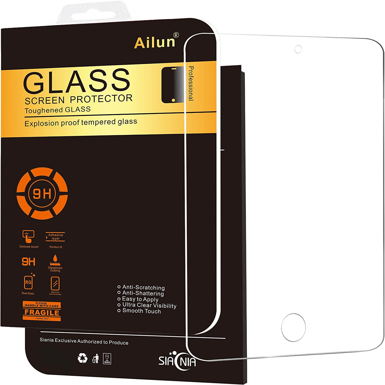 AILUN Screen Protector Compatible with iPad Pro 12.9 Inch 2015 and 2017 Model Premium Tempered Glass Apple Pencil Compatible Ultra Clear Anti Scratches Case Friendly