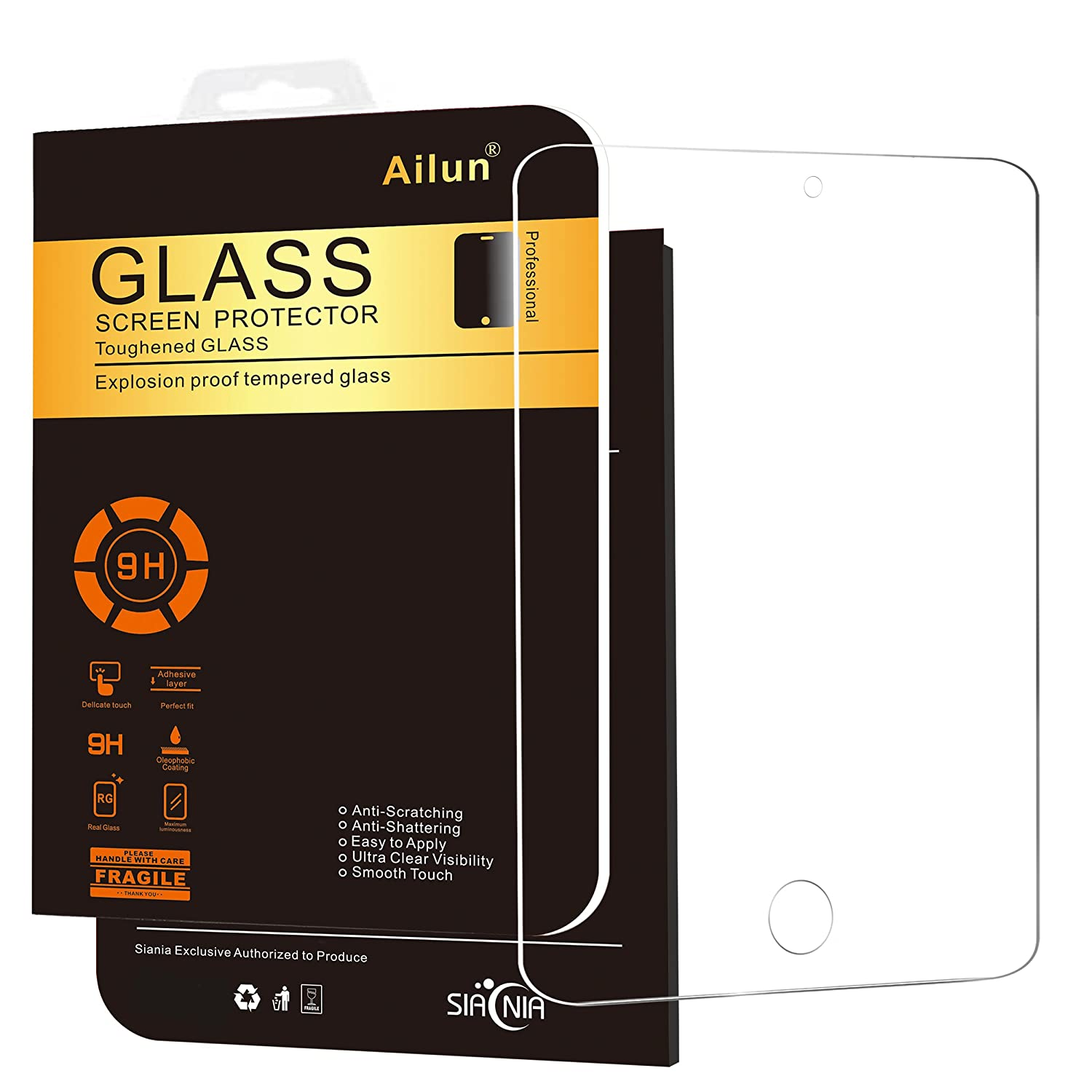 Ailun Screen Protector Compatible iPad Mini 4, Curved Edge Tempered Glass, Scratch-Proof, Case Friendly, Siania Retail Package