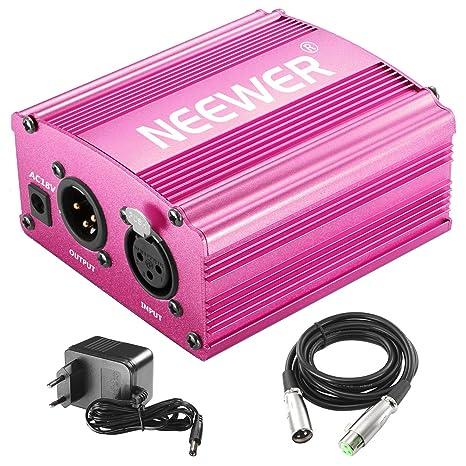 Neewer 1 - Canal 48V Phantom Fuente rojo rosa con adaptador, Cable de micrófono bono XLR 3 Pin para cualquier micrófono condensador de equipamento ...