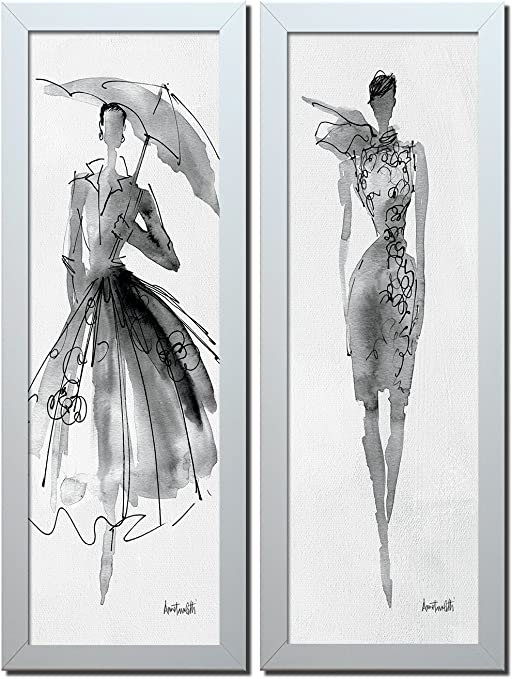 Amazon Com Gango Home Decor Trendy Runway Fashion Model Sketch Panel Sets By Anne Tavoletti Two Framed 6x18in Prints Ready To Hang Posters Prints