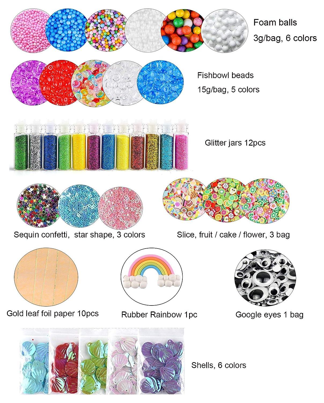 (52 piezas) OOTSR accesorios de limo con bolas de pecera, bolas de espuma, rebanadas, ojos saltones, brillo, estrella, cáscara, arco iris, papel dorado de ...