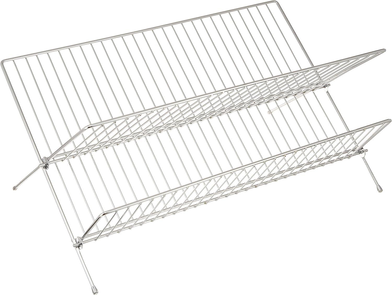 Metal Cromado Plata Brillante 25x47x27 cm Wenko Escurreplatos D/úo Escurridor