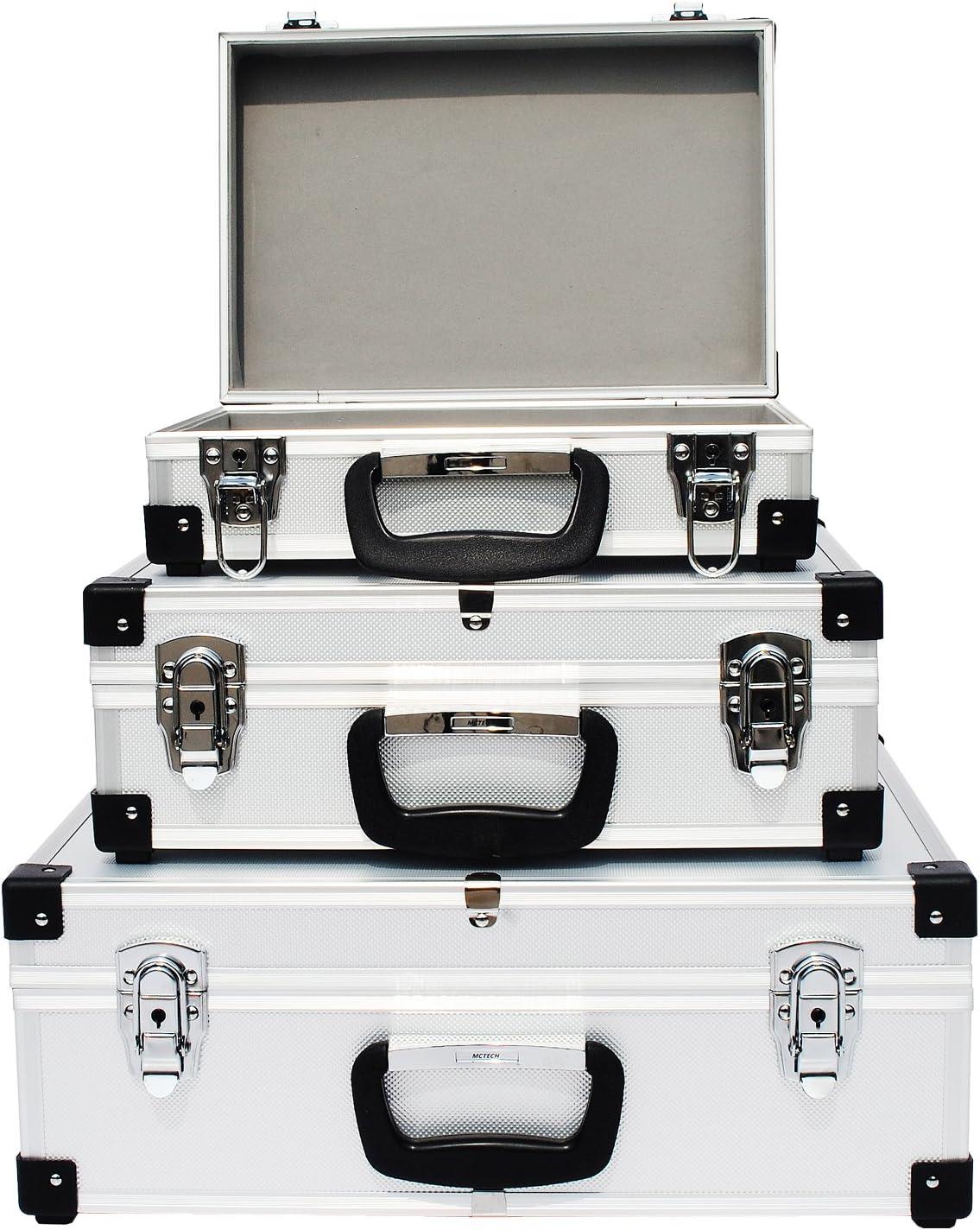 iKayaa 3er Set Aufbewahrungskoffer Werkzeugkoffer Aluminiumrahmen 3 Größen Box