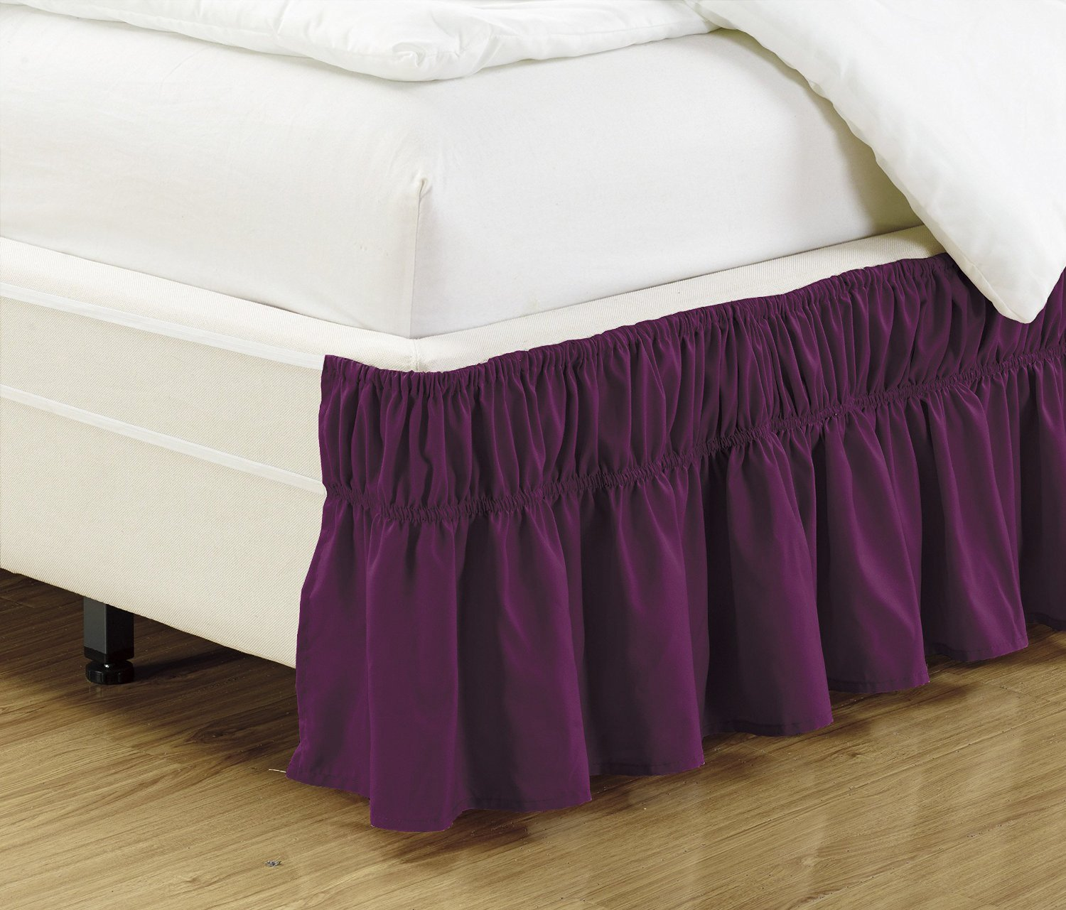 Fancy Collection Queen - King Easy Fit Bed Ruffle wrap Around Elastic Bed Skirt With 17'' Drop New Easy Install Solid Dark Purple New