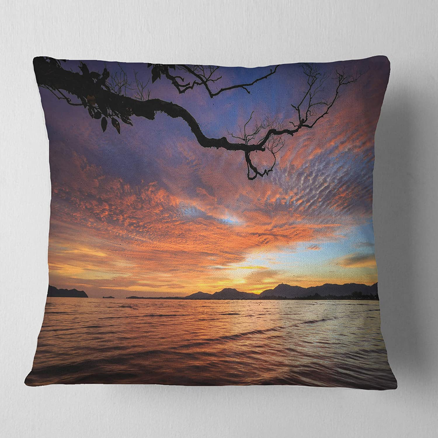 Insert Printed On Both Side x 26 in Sofa Throw Pillow 26 in Designart CU14701-26-26 Beautiful Sunset Beach in Phuket Seashore Cushion Cover for Living Room in