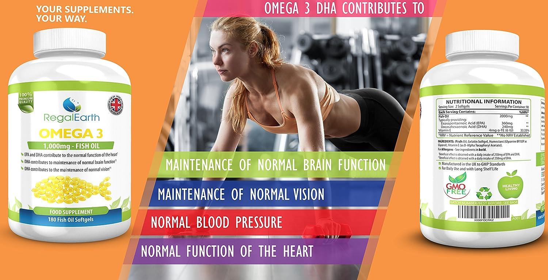 Omega 3 de aceite de pescado Complex 180 cápsulas blandas para los hombres y de las mujeres - Fórmula DHA EPA ácidos grasos soporte a las articulaciones, ...