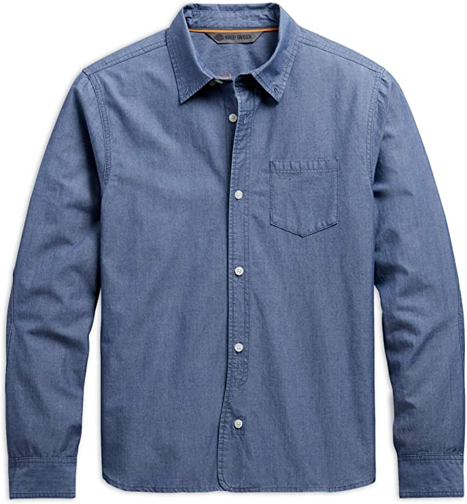 Harley-Davidson Camisa de manga larga Chambray Slim Fit para hombre, color azul claro