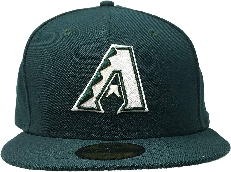 New Era アリゾナ ダイヤモンドバックス フィットキャップ 59Fifty MLB ストレートブリム 野球帽 フォレストグリーン