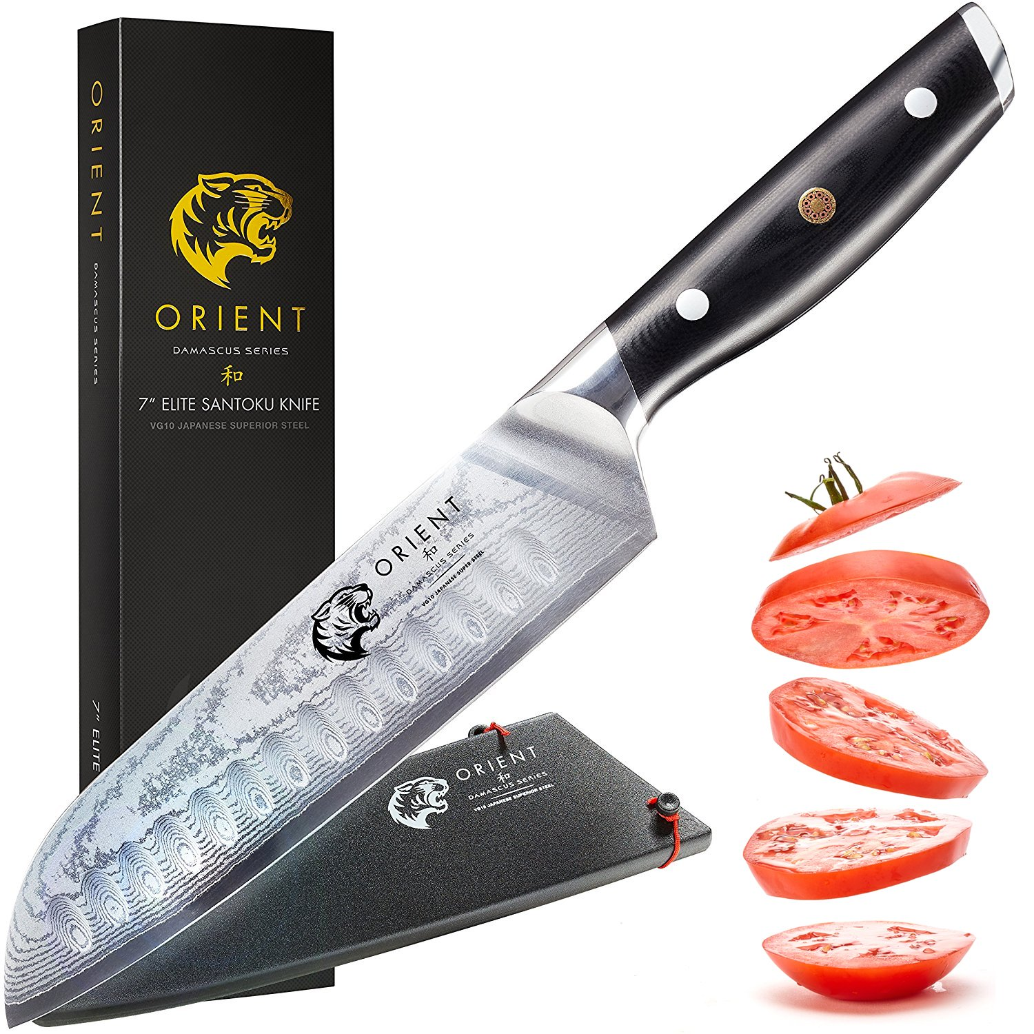 Orient Santoku Knife 7 inch Japanese Steel Damascus Blade – VG10 67 Layer Professional Chef's Knives With Gift Box and Sheath, Ultra Sharp, Best Kitchen Steel Knife with Cleaning Cloth by ORIENT