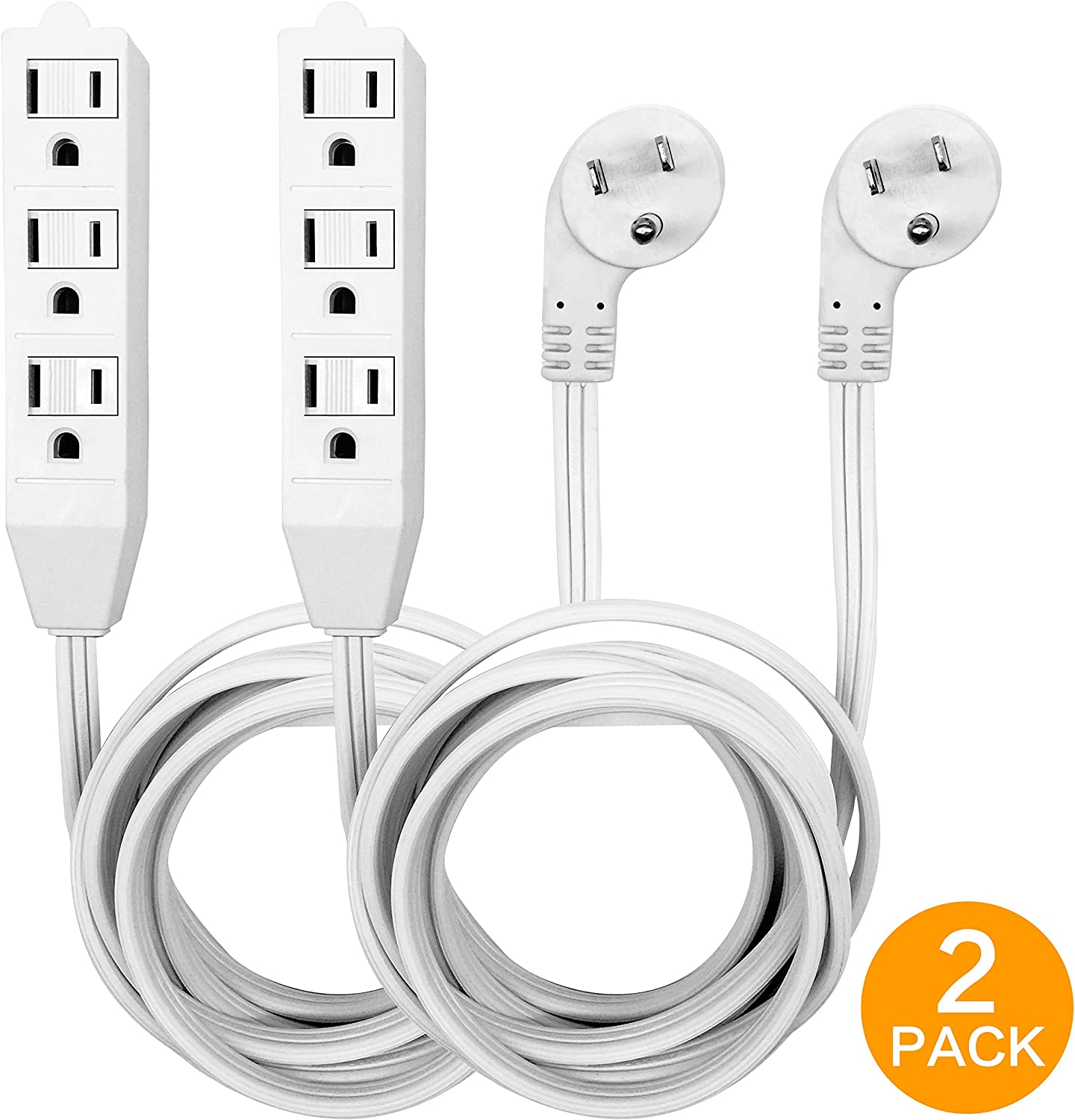 8 Foot Flat Plug Extension Cord, 3 Prong Grounded Wire, Angled Plug, White, UL Listed 2PK