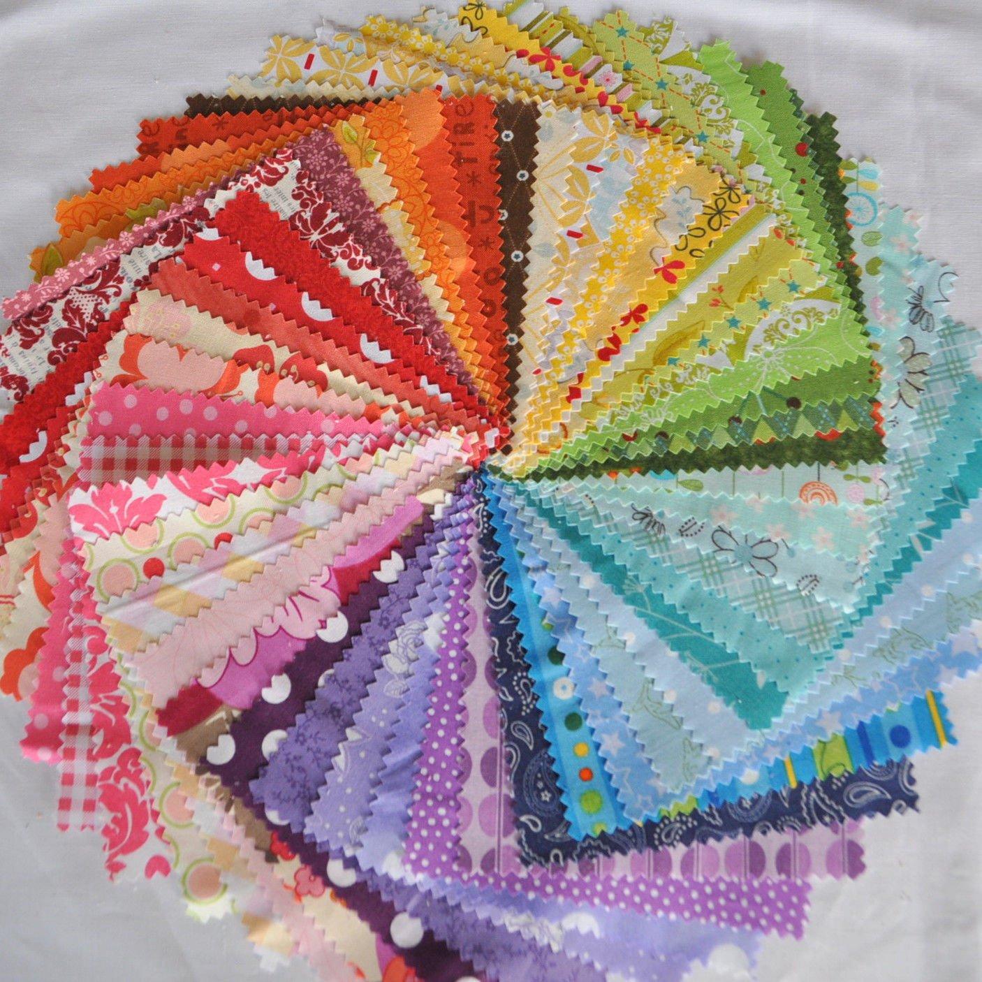 Designer Fabric 5 Squares Charm Pack Rainbow, 50 Different Pieces, 100% Cotton