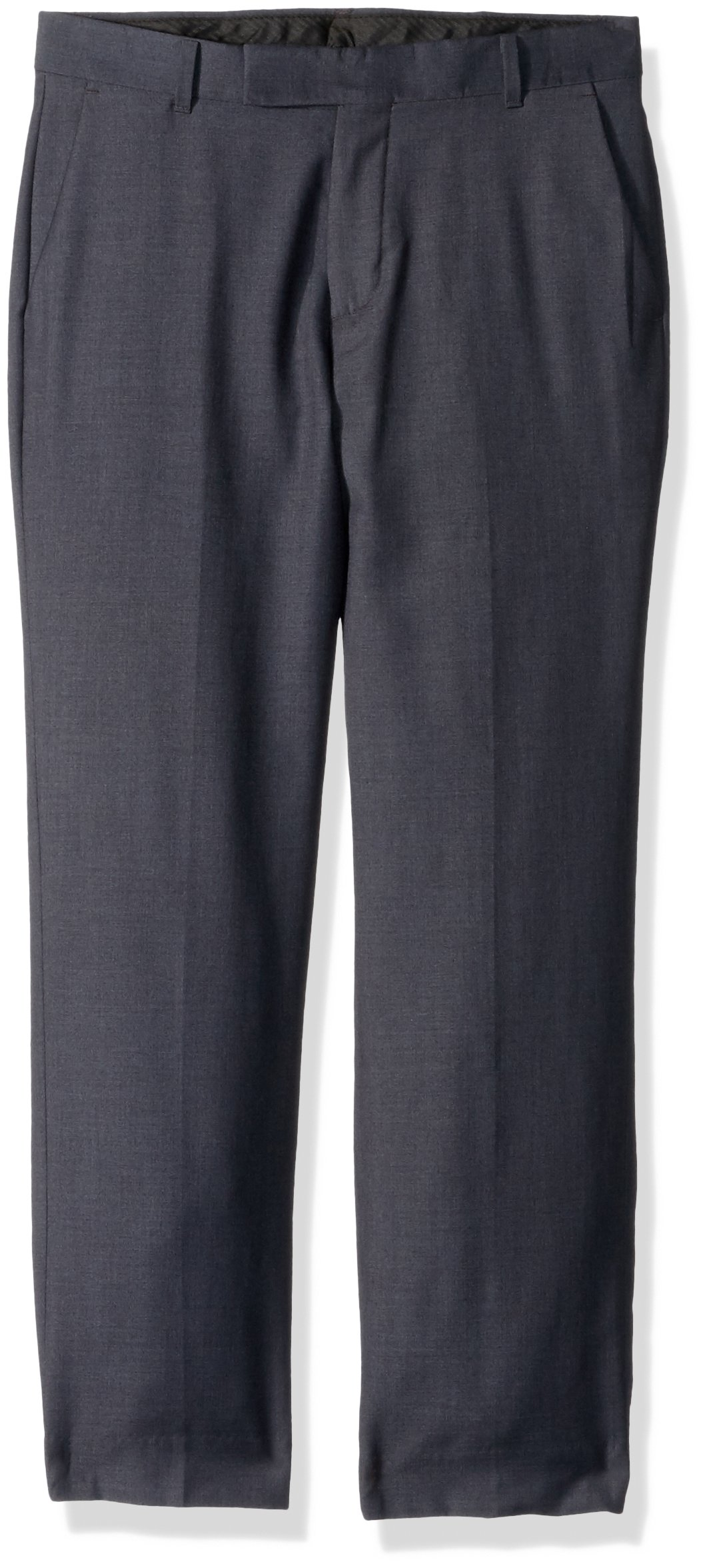 Calvin Klein Boys' Flat Front Dress Pant, Dark Charcoal Heather, 10