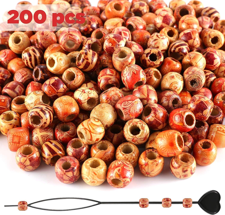 oval 300 Stück Holzperlen 10x15mm mit Loch 8 Farben-Holzkugeln zum auffädeln