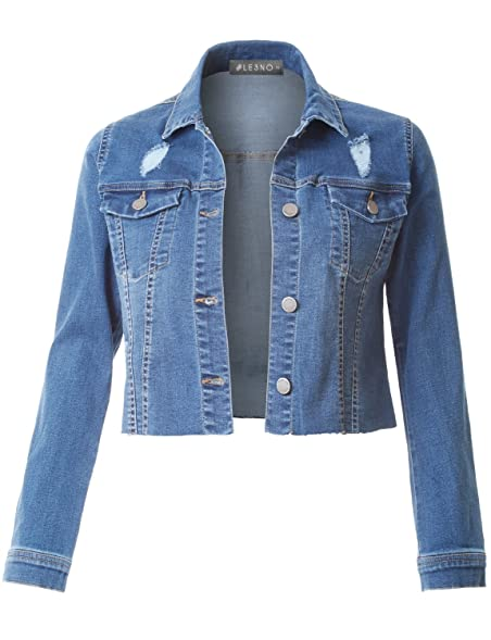 LE3NO Womens Vintage Long Sleeve Denim Jacket with Pockets at ...